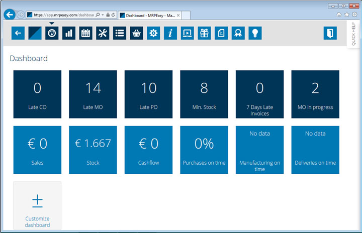 manufacturing software dashboard